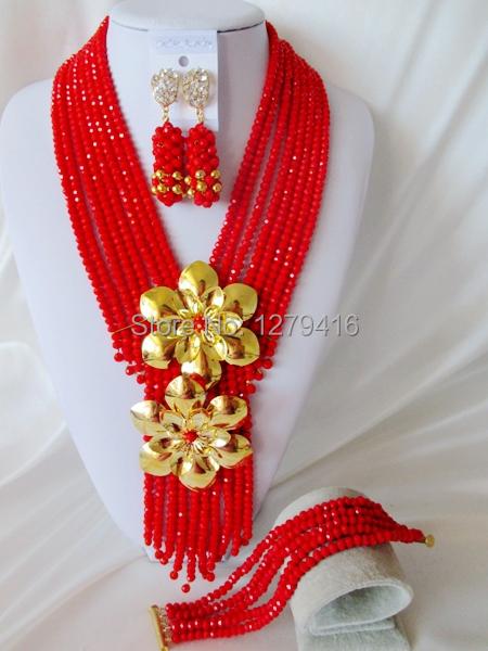 Fashion Nigerian African Wedding Beads Jewelry Set , Crystal Necklace Bracelet Earrings Set C1322<br><br>Aliexpress