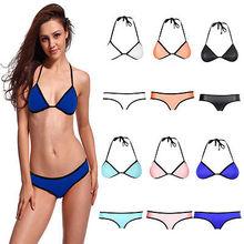 Womens Sexy Push-up Bra envio biquini acolchoado NEOPRENO Net Strapless Swimsuit Swimwear grátis
