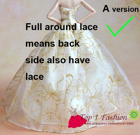 5pieces/lot wholesales prime quality full round lace purple rose marriage ceremony gown for barbie doll