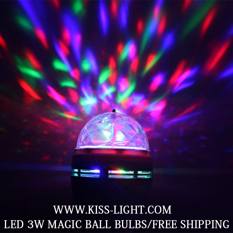 Crystal Magic Ball Stage Effect Light Led RGB Rotating Big Lamp Disco DJ Party free E27 socket KS030 - Shenzhen Kiss Lighting Co., Ltd. store