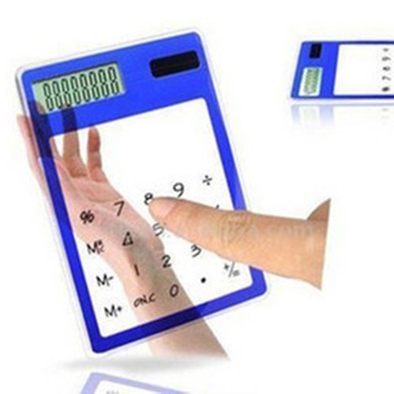2015 New Mini Transparent Calculator Multi-color 8 Digit LCD Solar Calculator Touch Screen Counter Calculating Tool as Gift(China (Mainland))