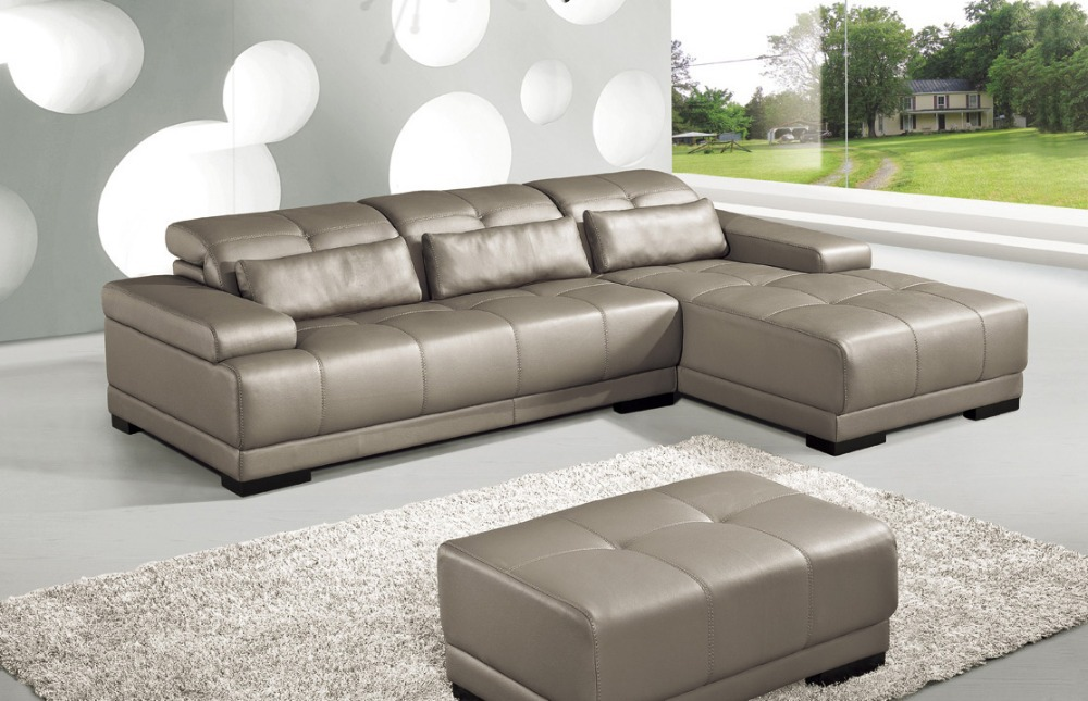 Cow genuine leather sofa set living room furniture couch for Sectional living room sets