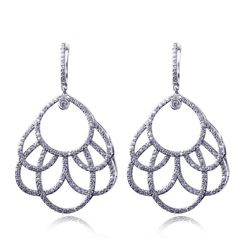 New Fashion popular zircon Party jewelry Drop earring luxury fashion big platinum earrings female wedding earrings()