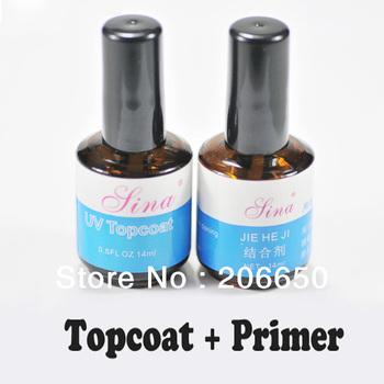 New Fashion Professional Top Coat + Primer Base Gel Nail Art UV Gel Polish Free Shipping