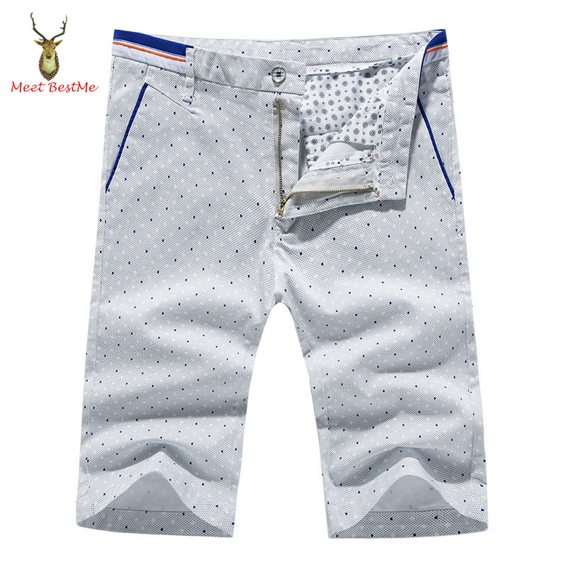 Great Quality Blue and White Dot Printed Shorts Men Zip Fly Button Waist Fashion 2016 Summer New Brand Mens Shorts Bermudas(China (Mainland))