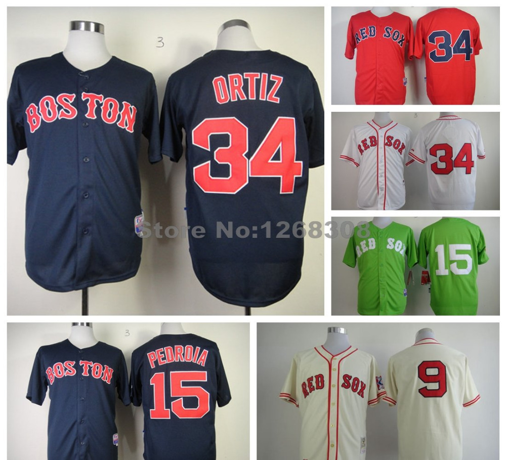 2015 Boston Red Sox Jersey Cool Base 34 David Ortiz 15 Dustin Pedroia 9 Ted Williams Shirt Men's Red Blue White Baseball Jerseys(China (Mainland))