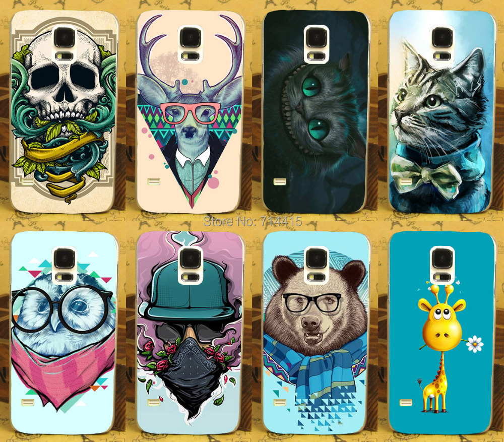Cool Cartoon Animal Series Colorful Skull Deer Cat Bear Protective Hard Case Cover For Samsung galaxy SV S5 I9600 G900 G900F(China (Mainland))