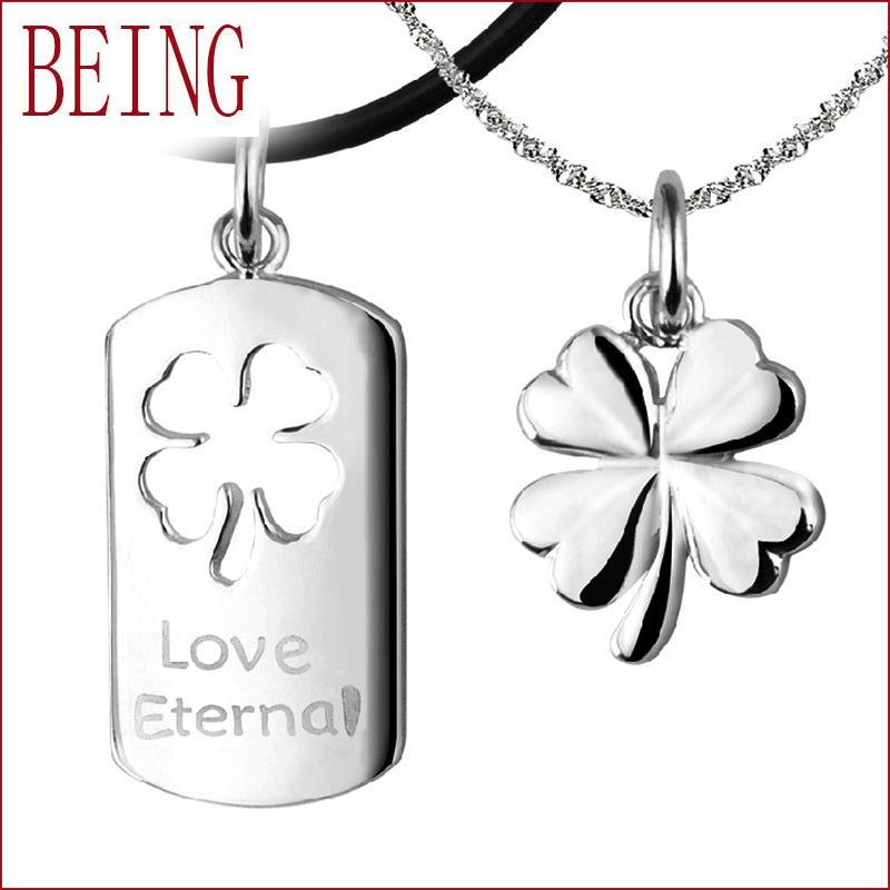 2016 high new quality fashion clover silver pendants metal stamping white lettering eternal love couple necklace pendants(China (Mainland))