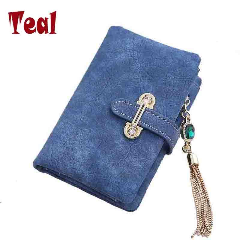 Wallet women card holder female wallet women luxury brand organizador women's purse clip Vintage Matte Hasp Suede pendant wallet(China (Mainland))