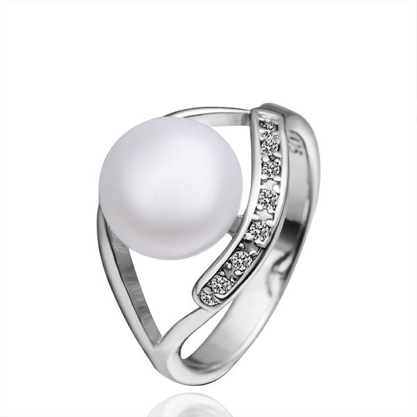 LKNPLR001 2013 Christmas Gift,Fashion Top Quatity Hollow Out Arc 18K Platinum plating astness Pearl Rings Factory Wholesale(China (Mainland))