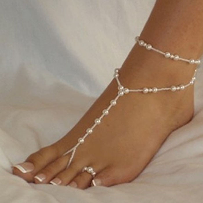2015 Fashion Women Ankle Bracelet Beach Imitation Pearl Barefoot Sandal Tornozeleira Femininas Foot Jewelry Anklet Chain Anne(China (Mainland))