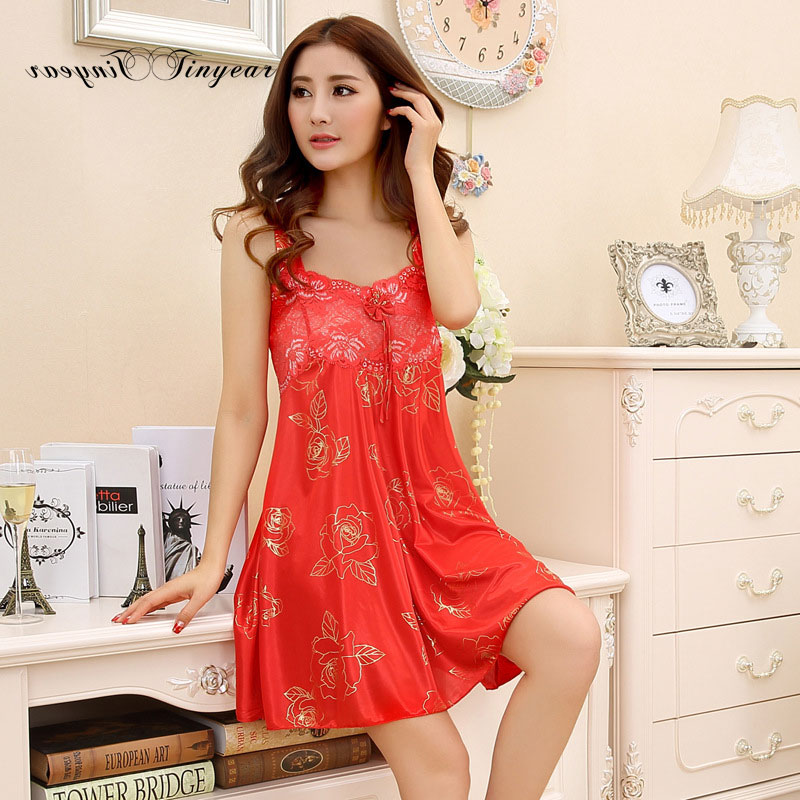 Tinyear women summer lace nightgowns sexy sleepshirts sleeveless lash neck floral pattern nuisette femme with bow design(China (Mainland))