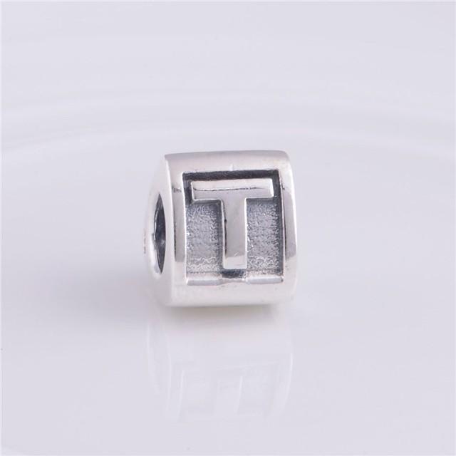 Письмо T бусины треугольник форма подходит пандоры прелести браслет 925-Sterling-Silver европейский женщины DIY ювелирных изделий