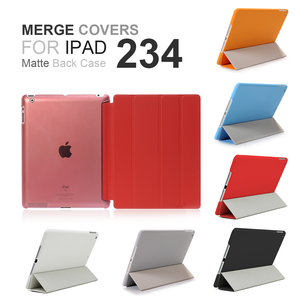 New PU Leather Magnet Slime Ultra Thin Transparent Crystal Back Merge Part Tri-fold Anti-scratch Case Cover For iPad 2 3 4(China (Mainland))