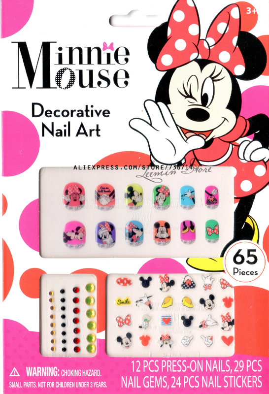mickey and minnie mouse cartoon kid ail nart press-on nails/ nail gem/ nail sticker(China (Mainland))