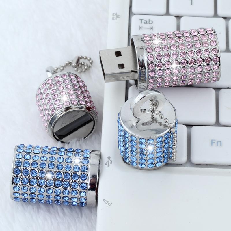 Hot Cute Crystal Silver Cylinder USB Flash drive 2GB 4GB 8GB 16GB 32GB 64GB USB 2.0 Flash pendrive Memory Stick usb stick(China (Mainland))