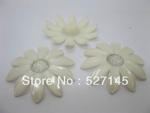Free Shipping 40Pcs/Lot Pearl White Blossom Sunflower Hairclip Jewelry Finding DIY Craft(China (Mainland))