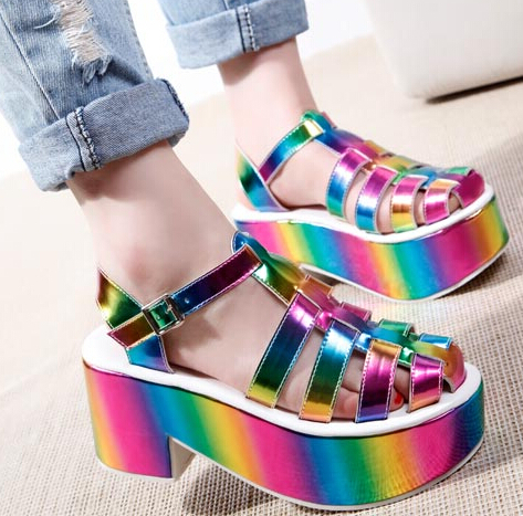 Unif Harajuku Summer Sandals Cut Out Platform Stylish Slingback Women Chunky Pumps Strappy Colorful Medi Heel Laser Rainbow<br>