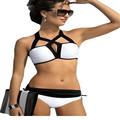 2016 Retro Style Halter Padded Biquinis Feminino Swimwear LC41826 White Black Cutout Design Two Piece Sexy