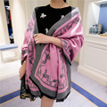 Fashion carriage solid color cashmere scarf women luxury Brand ultra long cape dual female autumn winter