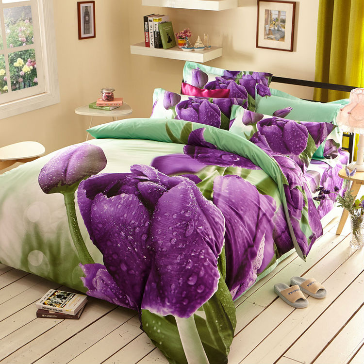 2016 Luxury purple Tulip reactive print 3d bedding set king Queen double size duvet cover sheet pillowcase 4pc bedcover sets(China (Mainland))