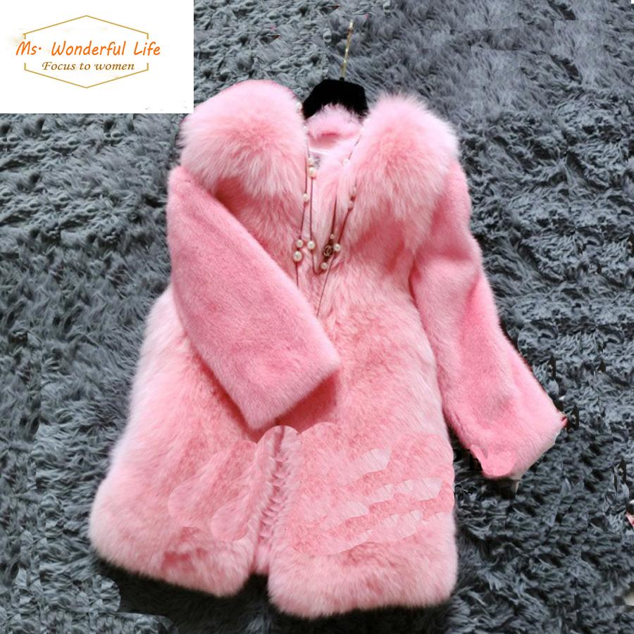 Фотография Women Faux Rabbit Fur Coats And Girls Style Synthetic Fox Fur Jackets 2015 Brand Female Overcoat Casacos Femininos De Pele Falso