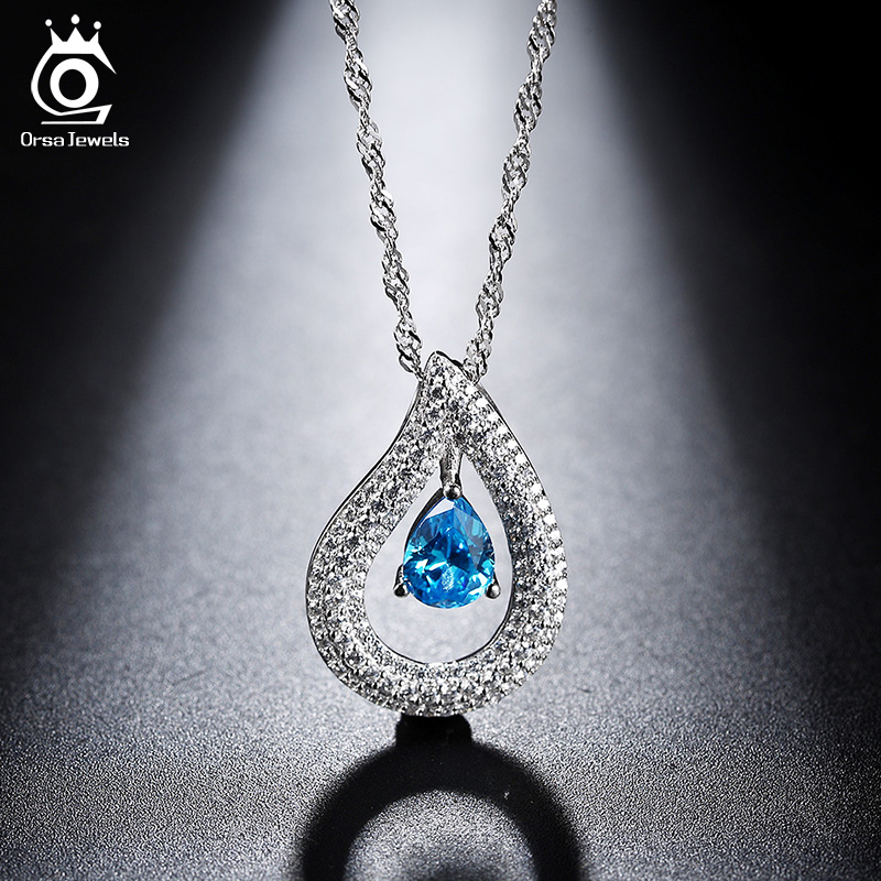 ORSA JEWELS Women Silver Necklaces with Charm Water Drop Blue Crystal 2017 New Fashion Zircon Necklaces Special Gift ON121(China (Mainland))