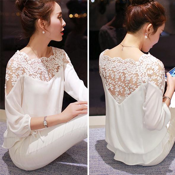 Plus Size Women Chiffon Blouses 2015 New Summer Style Three Quarter Sleeve White Black Female Shirt Ladies Lace Blouse Income(China (Mainland))