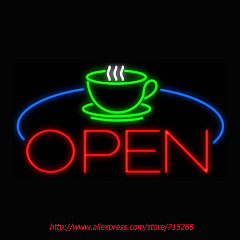 Coffee Cup Table Open Neon Sign Board Neon Bulbs Light Guarage Display Real GlassTube Handcrafted Business Decorate Bright 17x14(China (Mainland))