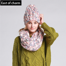 Varicolored Knit Hat and Scarf Warm Winter Hat For Women Hat Beanies Thick Female Bonnet Scarf Set Women Scarf Comfortable(China (Mainland))