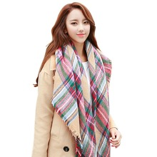 Lady Women Blanket Oversized Tartan Scarf Shawl Free Shipping