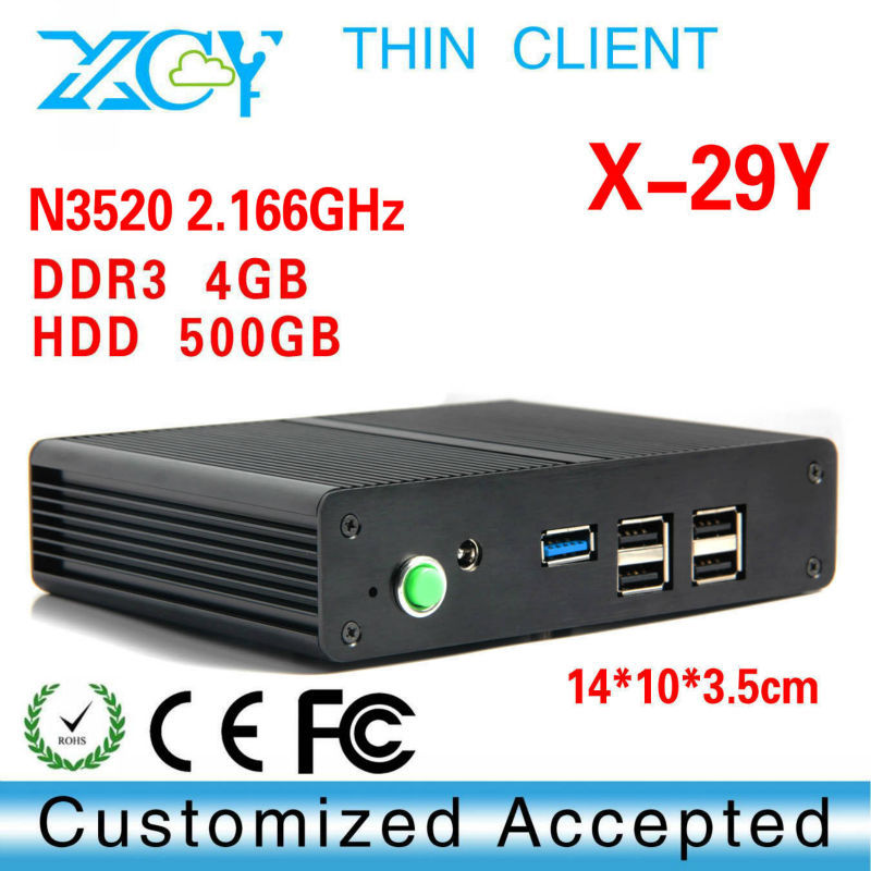 Low power low heat low voltage memory assembly computer XCY X-29 N3520 4g ram 500g hdd win7 thin client super hotel computer(China (Mainland))