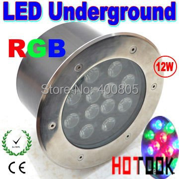 Фотография Dropship RGB 12w LED Floor IP68 Underground fountain light Waterproof Garden outdoor  lighting 85~265V CE RoHS