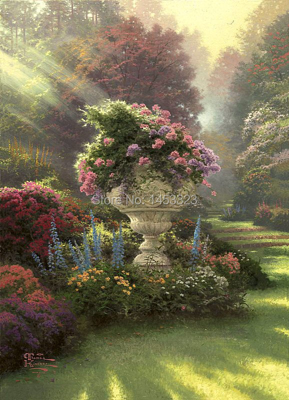 printed Thomas Kinkade The Garden of Hope oil painting print on 100% cotton canvas wall art picture for living room poster(China (Mainland))