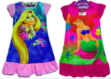 2015 Hot summer kids pajamas nightgown Girl sleepwear kids print Cartoon princess nightdress girls polyester nightwear kids Robe(China (Mainland))