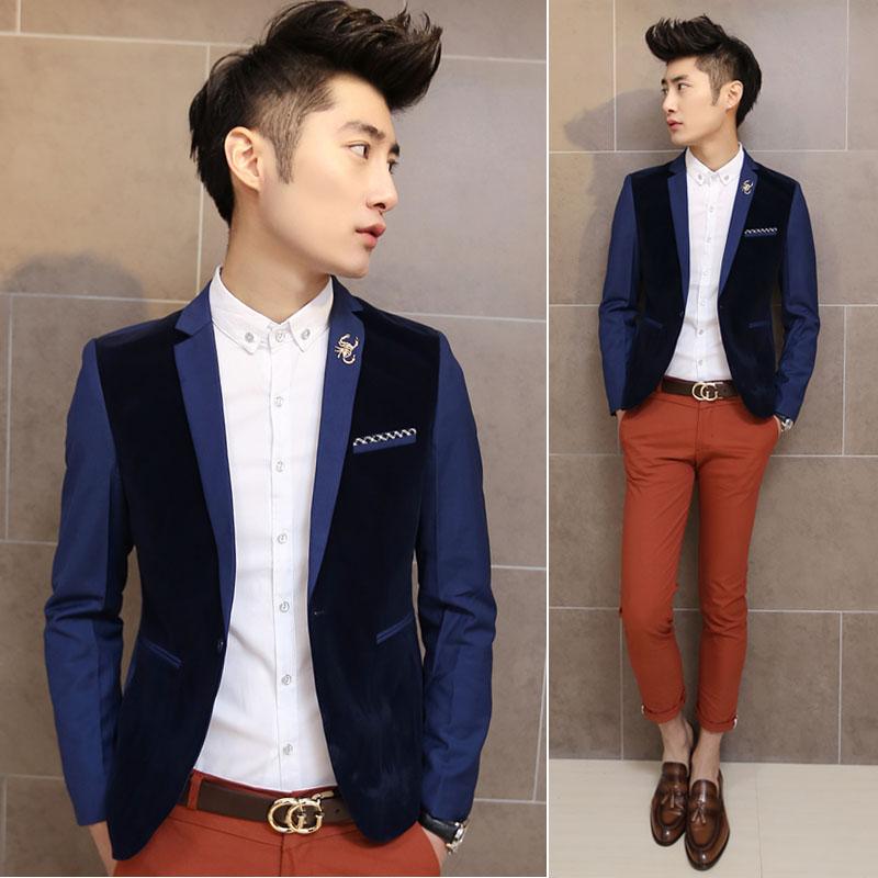 New Fashion 2014 spring men's casual velvet rompu color classic suit male slim korea style blazer - fashionable wardrobe store