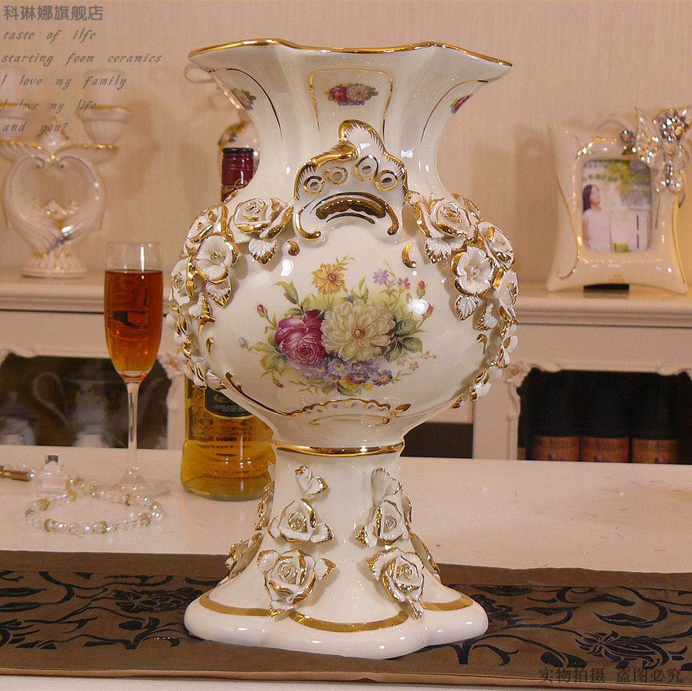 European high-grade ivory porcelain vase large ceramic vase send flowers craft luxurious palace Decoration Free shipping(China (Mainland))