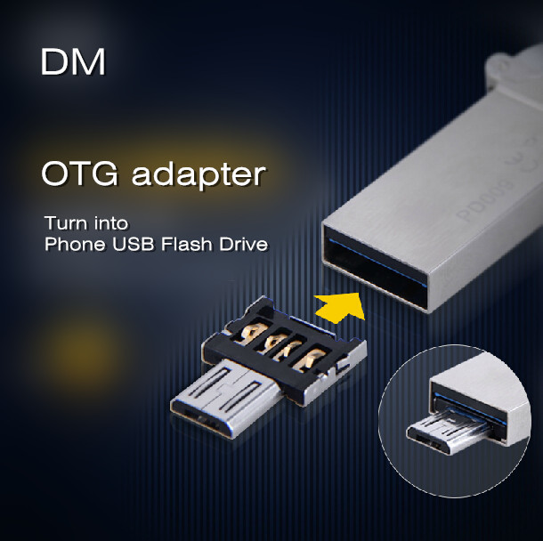 DM OTG adapter OTG function Turn into Phone USB Flash Drive Mobile Phone Adapters Free shipping(China (Mainland))