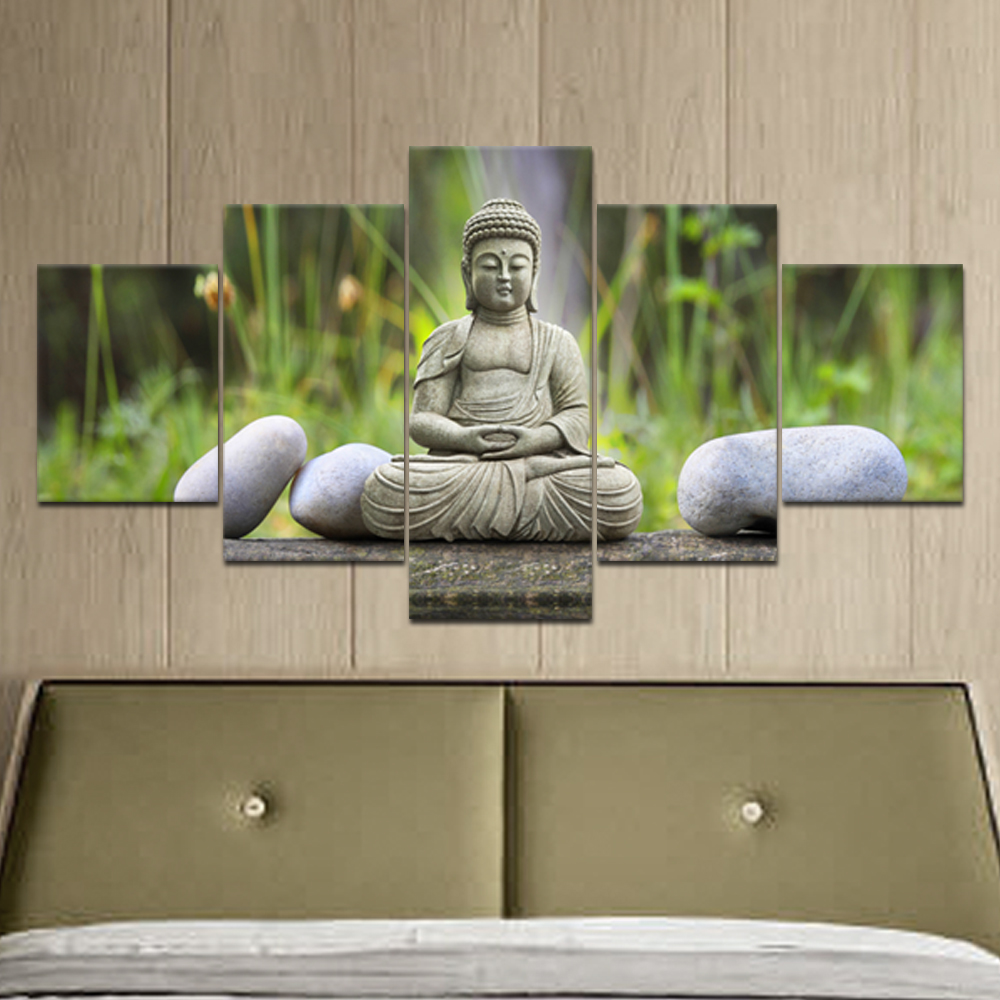 Figure of Buddha Printed Painting Canvas Modern Home Decoration For Living Room Bedroom Large Wall Art 5 pieces Unframed AA0111(China (Mainland))