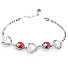 925 Pure Silver Garnet Bracelet A Cat's-eye Korean Heart-shaped Hand Ornaments Crystal Jewelry Certificate A 18(China (Mainland))