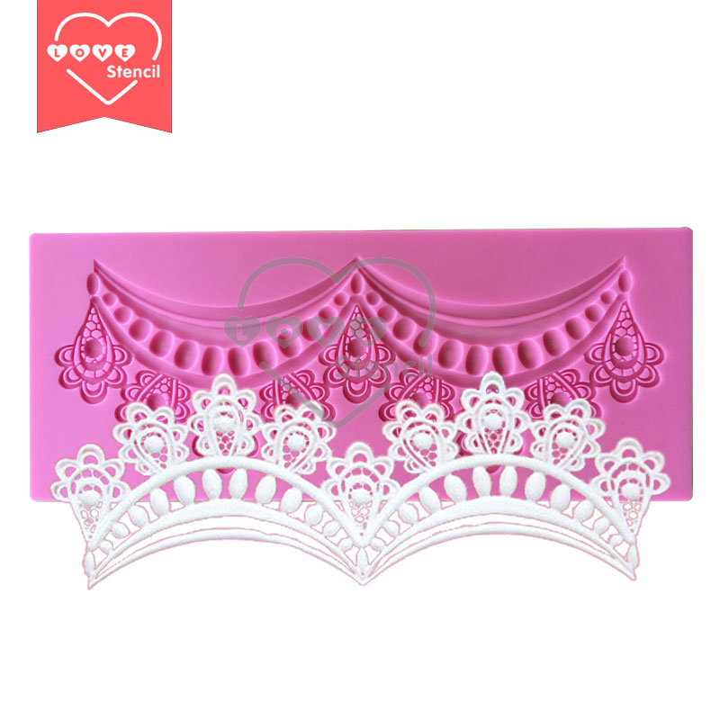 Deep Texture Crown Cake Lace Mold Silicone Laces Mold, Silicone Cake Baking Mat LM-67(China (Mainland))