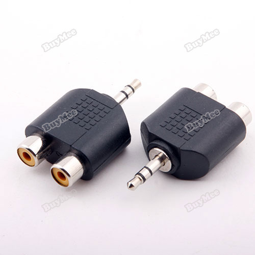 trad new fashion brand! 3.5mm Audio Jack Male Plug to 2 RCA Splitter Adapter hottest(China (Mainland))