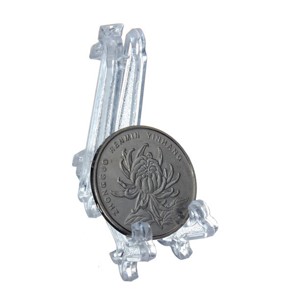 5pcs Collectibles Mini Clear Plastic Coin Minerals Plates Cards Display Medal Gem Badge Golf Post Easel Stand Holder New(China (Mainland))