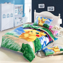 Free Shipping home decoratioin textile cartoon 100% cotton 3pcs kids pikachu pokemon printed bedding set sheet cover(China (Mainland))