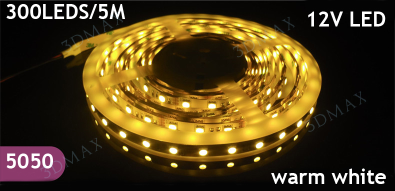 new 5M Pure White/Warm White / Red/Green/Yellow Superbright Non-Waterproof 5050 SMD 60led/M Flexible LED Strip Light 300 Led(China (Mainland))