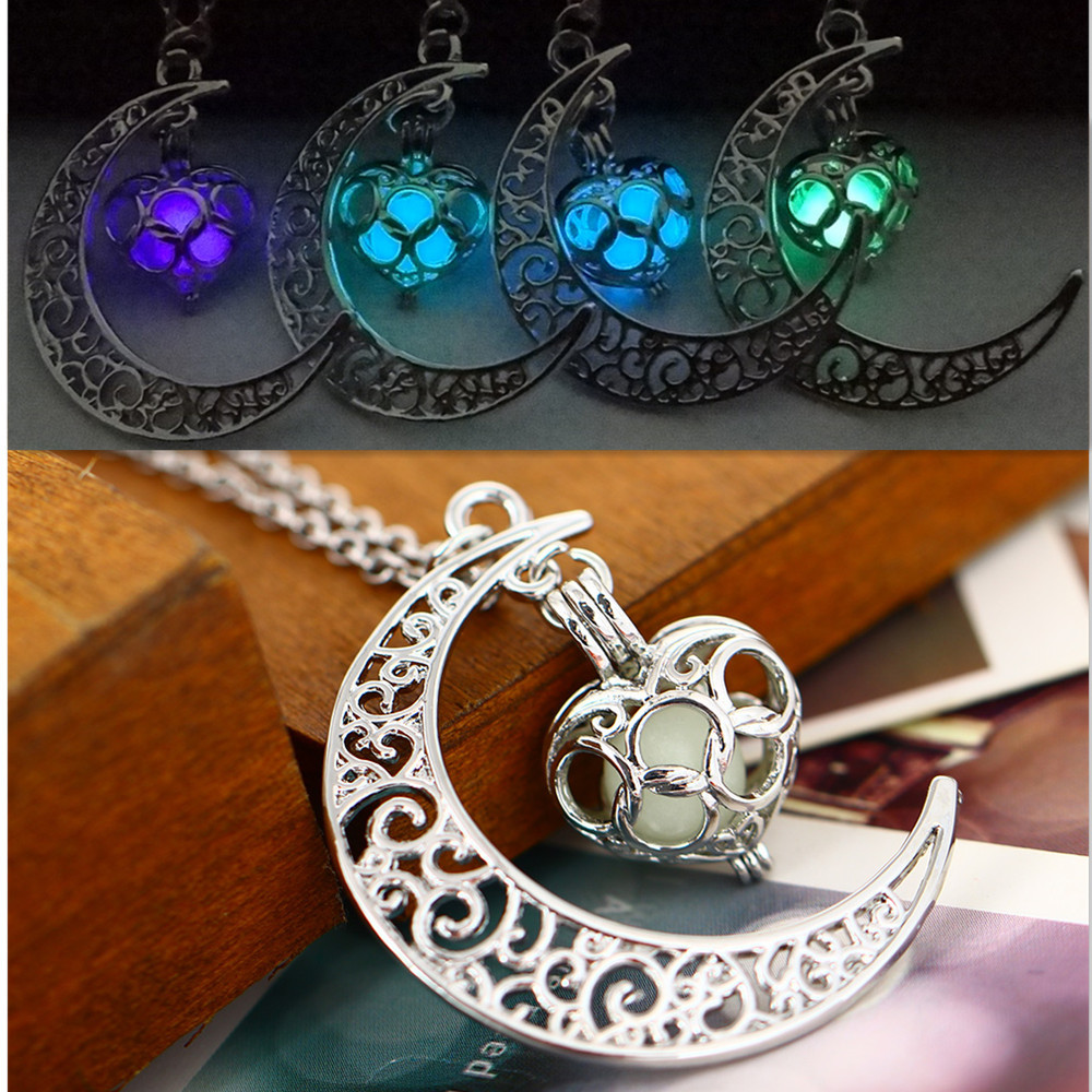 Fluorescence Necklace women moon love heart night jewelry Glow in the Dark Pendant with 48cm chain blue green purple necklace(China (Mainland))