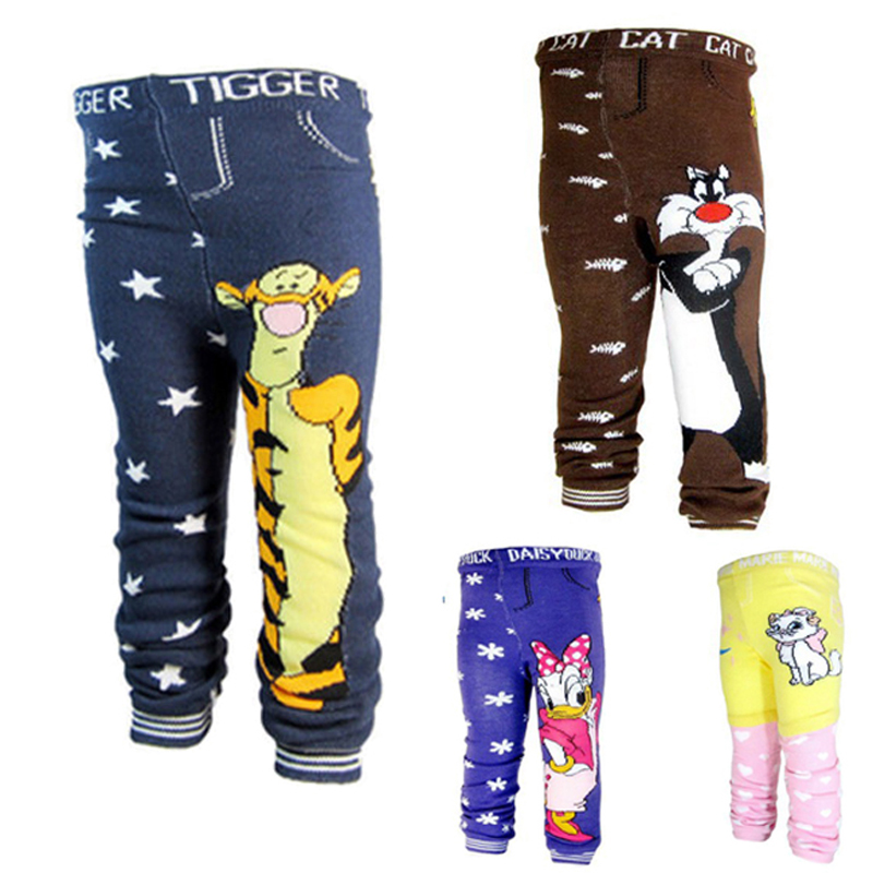 Baby Leggings cotton knitted Baby pants yarn dyed Cartoon characters toddler boys pants elastic waist Girls leggings trousers(China (Mainland))