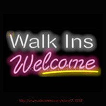 Walk Ins Welcome Salons Neon Sign Commercial Neon Bulbs Real Glass Tube Shops Handicrafted Recreation Room Attract Indoor 17×14