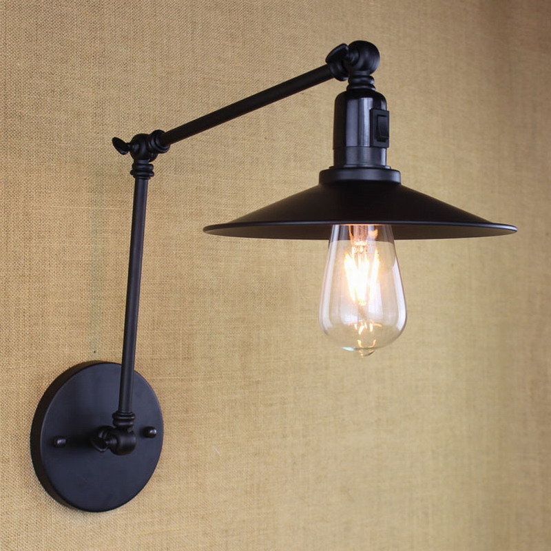 antique black retro industrial MINI adjustable wall lamp with long swing arm for workroom bedside bedroom illumination sconce<br><br>Aliexpress