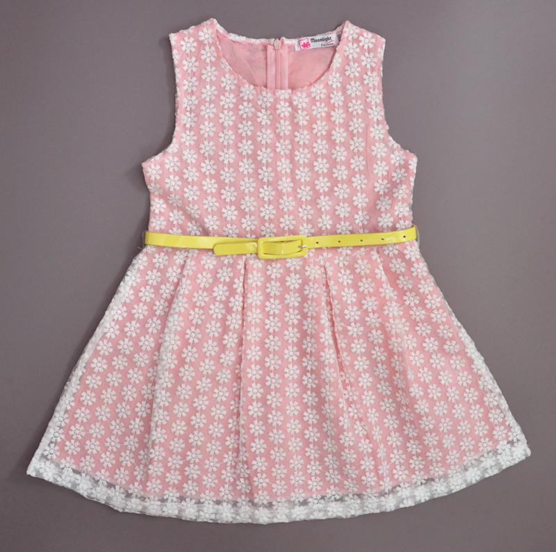 2016 New Little GirlsLace Dress Summer Sleeveless Chiffon Cotton Princess Dress Cute Belt Decoration Children's dresses elbisesi(China (Mainland))